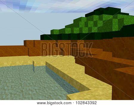 Landscape Made Of Pixel Squares
