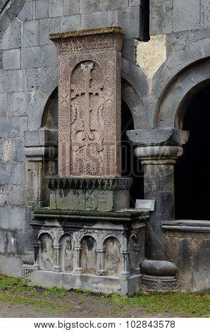 Khachkar (stone Cross) At Medieval Christian Sanahin Monastery Complex,unesco Heritage, Armenia