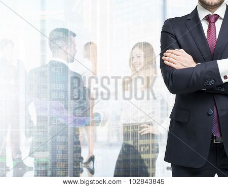 A Body In A Formal Suit With Crossed Hands. A Figures Of The Young Professionals In Formal Clothes O