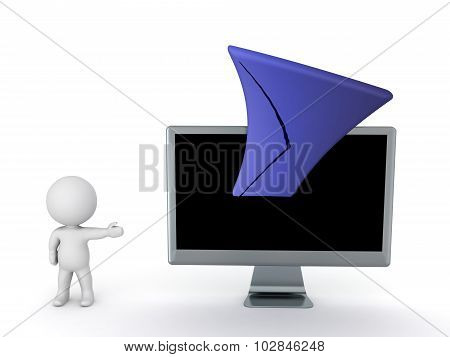 3D Character Showing Mail Envelope Stretching Out Of Computer Monitor
