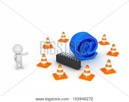 3D Character Showing At Symbol Surrounded By Road Cones - Website Under Maintenance Concept