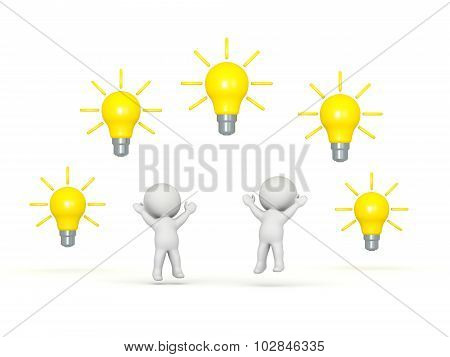 3D Characters With Many Light Bulb Ideas