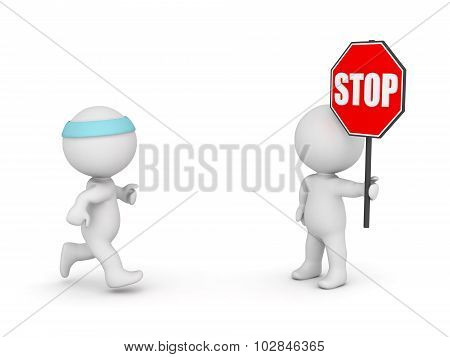 3D Character Jogging And Character With Stop Sign