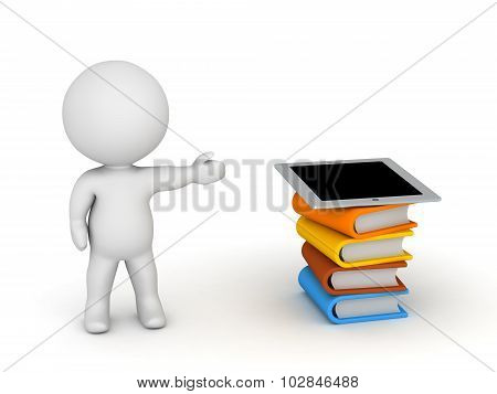 3D Character Showing Stack Of Books And Tablet