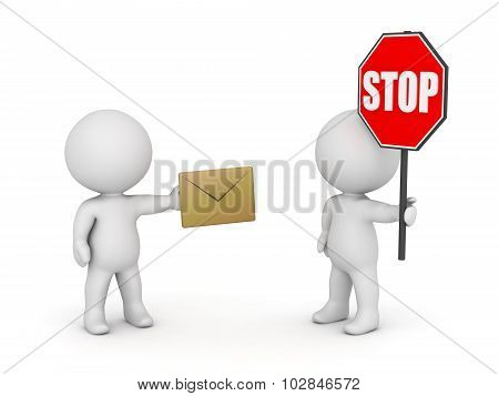 3D Characters With Envelope And Stop Sign - Stop Email Spam Concept
