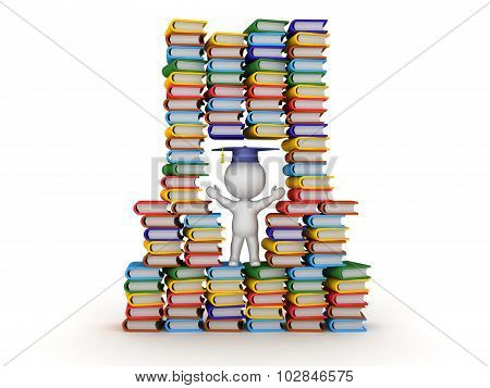 3D Character In Stack Of Colorful Books