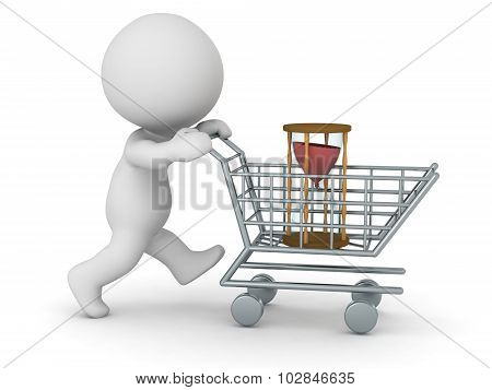 3D Character With Shopping Cart Buying Hourglass - Buying Time Concept