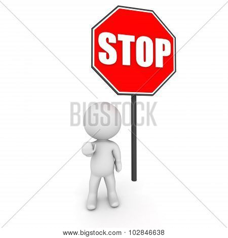 3D Character And Stop Sign