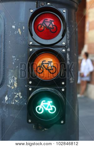 Red Orange And Green Colored Traffic Lights
