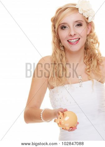 Woman Bride With Piggy Bank