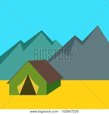Camping Tent With Mountains Background