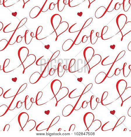 hearts and letters seamless pattern