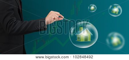 Hand Hole Needle With House In Bubble