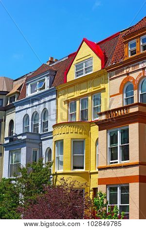 Luxury row houses of Washington DC USA.