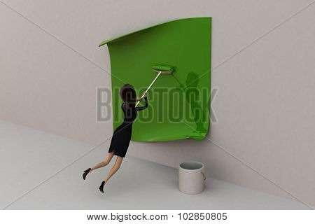 3D Woman Painting Green Color On Wallpaper Concept