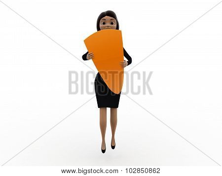 3D Woman With Shield Concept