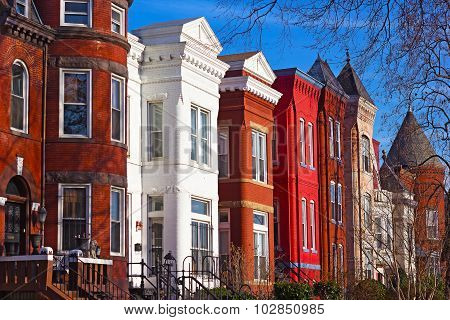Row houses of Mount Vernon Square in Washington DC,USA