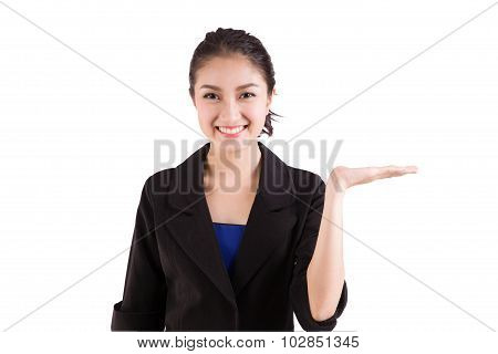 Business Woman Presenting A Copyspace. Isolated On White Background