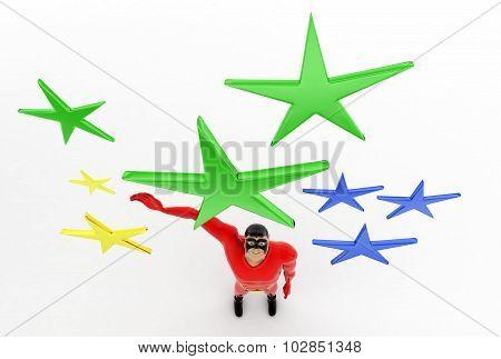 3D Superhero With Stars Concept