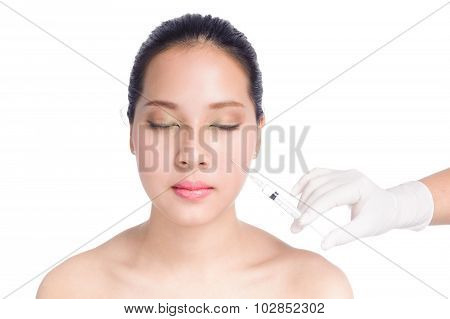 Beautiful Woman With Syringe Botox