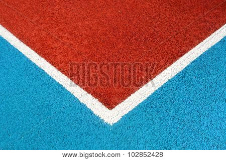 Running Track Made From Red Granule Rubber