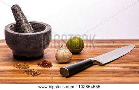 Mortar And Pestle And Large Knife