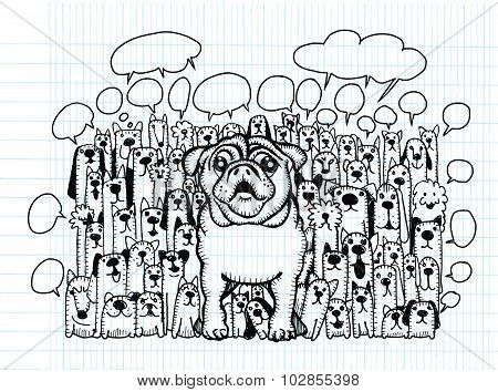 Hand Drawing Doodle Cute Dogs Group And Speaking Bubble