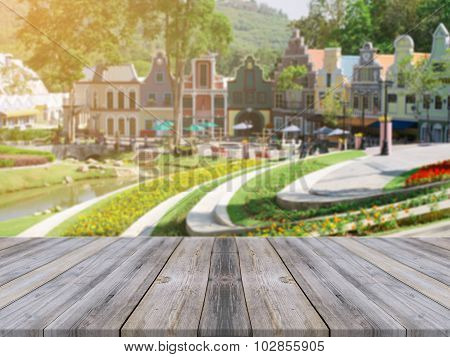 Wooden Board Empty Table blur beautiful resort and landscape mountain hill with bokeh.