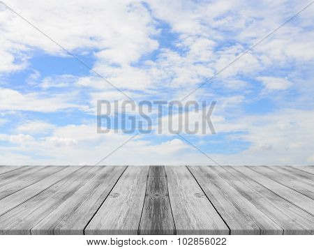 Vintage Wooden Board Empty Table Sky Background - can be used for display or montage your products.
