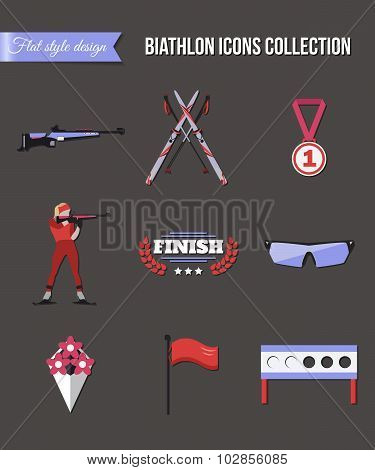 Biathlon icons set. Flat style design. Target, ski, gun, woman shooting silhouette.
