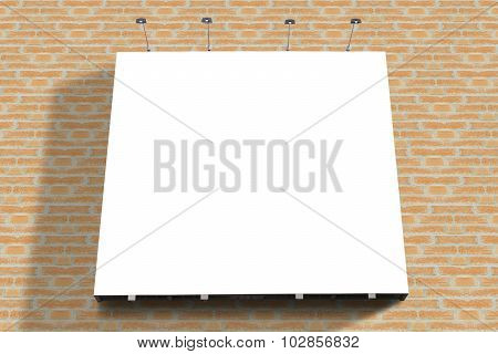 Blank Poster Billboard Attached Street Brick Wall With Copy Space For Text Message Or Content.