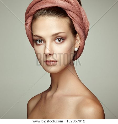 Portrait Young Beautiful Brunette Woman With Elegant Headdress
