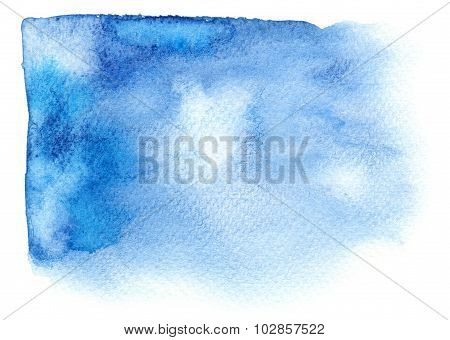 Bright Blue Watercolor Stain With Watercolour Paint Sroke