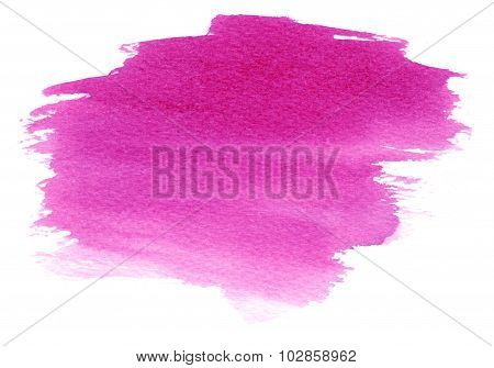 Magenta Watercolor Stain With Watercolor Paint Blotch