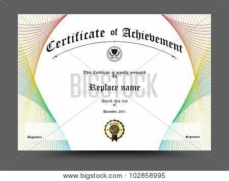 Certificate Diploma Border, Certificate Template. Design On White Background. Vector Illustration