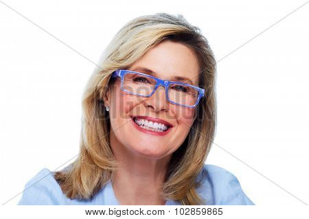 Beautiful elderly lady wearing eyeglasses close-up.