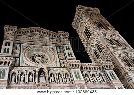 Florence Cathedral and Campanile by night