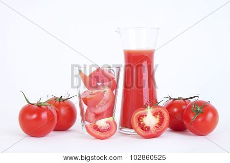 Tomato And Sliced Tomato Prepare For Tomato Juice