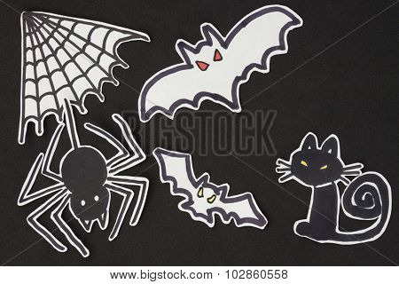 Halloween Decorations Cat, Spider, Bat And Spiderweb