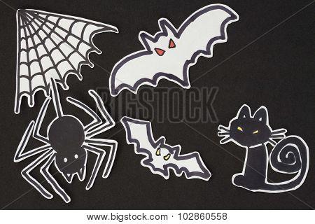 Halloween Decorations Cat, Spider, Bat And Spiderweb