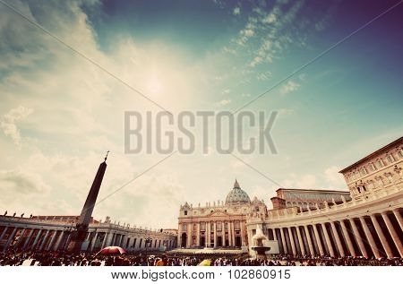 St. Peter's Square, Piazza San Pietro in Vatican City. View on the Basilica, colonnades and the obelisk