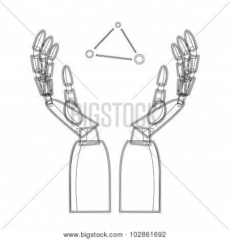 Vector Illustration Of Mechanical Arms