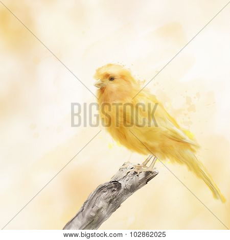Digital Painting of Yellow Bird