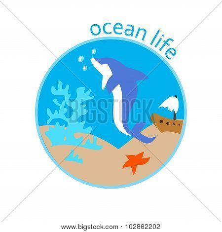 Vector Illustration Of Underwater Life