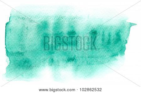Blue Watercolor Stain With Aquarelle Blotch On Wet Background