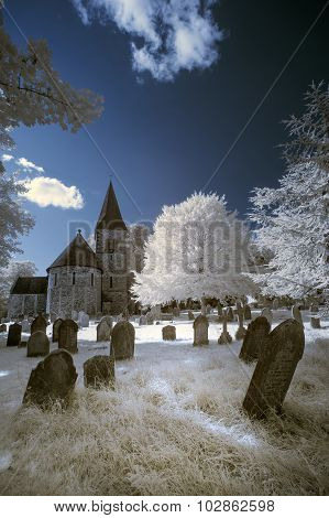 Infrared Landscape Of Old Church In Churchyard In English Countryside