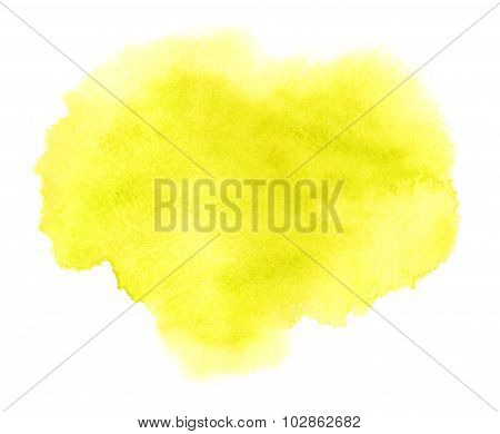 Yellow Watercolor Or Ink Stain With Water Colour Paint Blotch