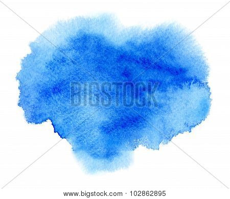 Blue Watercolour Or Ink Stain With Water Color Paint Blot
