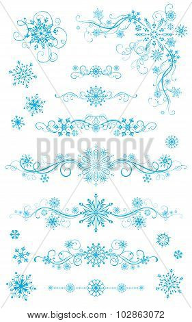 Snowflake Page Dividers And Decorations Isolated On White Background.