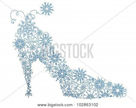 Abstract Blue Shoe Of Snowflakes.